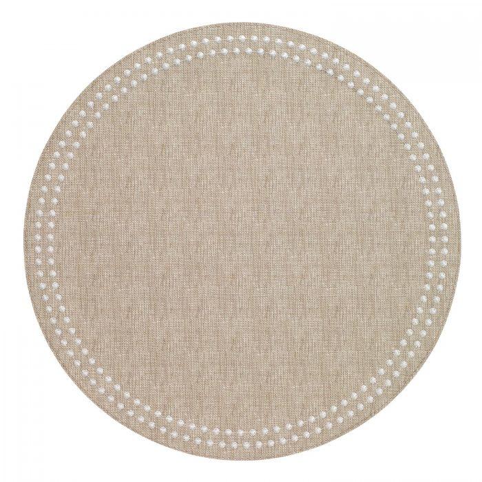 Round Pearls Beige White Placemat