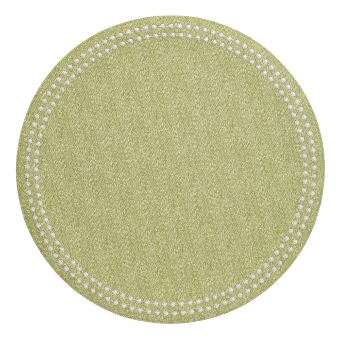 Round Pearls Fern White Placemat - Set of 2