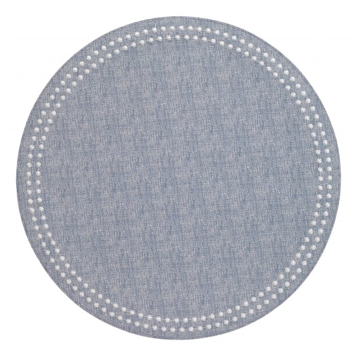 Round Pearls Bluebell White Placemat - Set of 2
