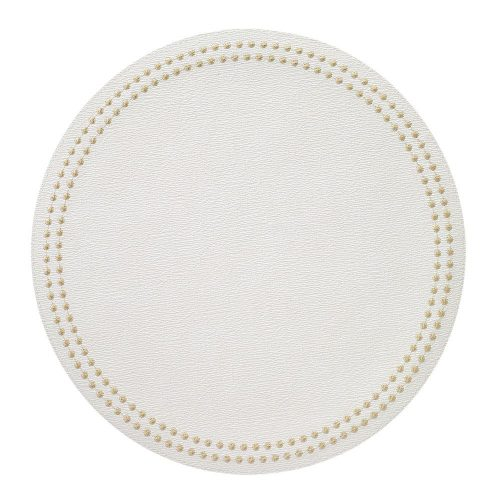 Round Pearls Gold White Placemat - Set of 2