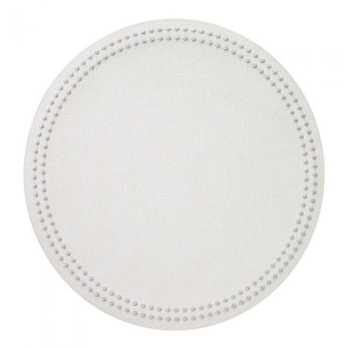 Round Pearls Antique White Silver Placemat - Set of 2