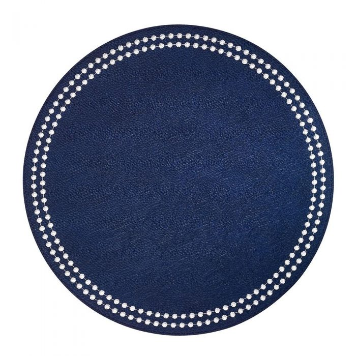 Round Pearls Navy White Placemat - Set of 2