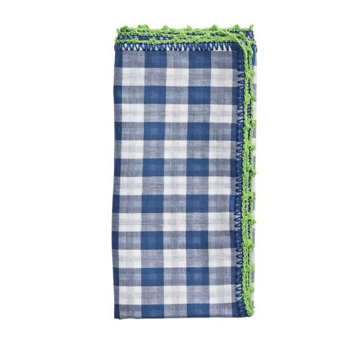 Checked Blue/Green/White Napkin - Set of 2