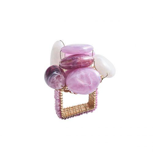 Sea Stone Lilac and White Napkin Ring -Set of 4