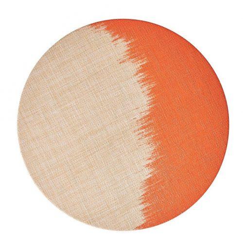 Brushstroke Natural/Orange Placemat - Set of 2