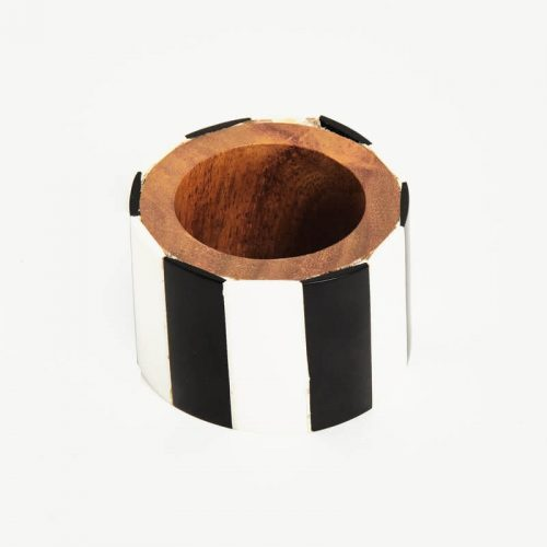 Black & White Napkin Ring - Set of 4