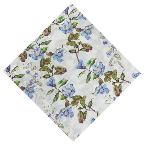 Horned Flower Blue and Green Napkin - Set of