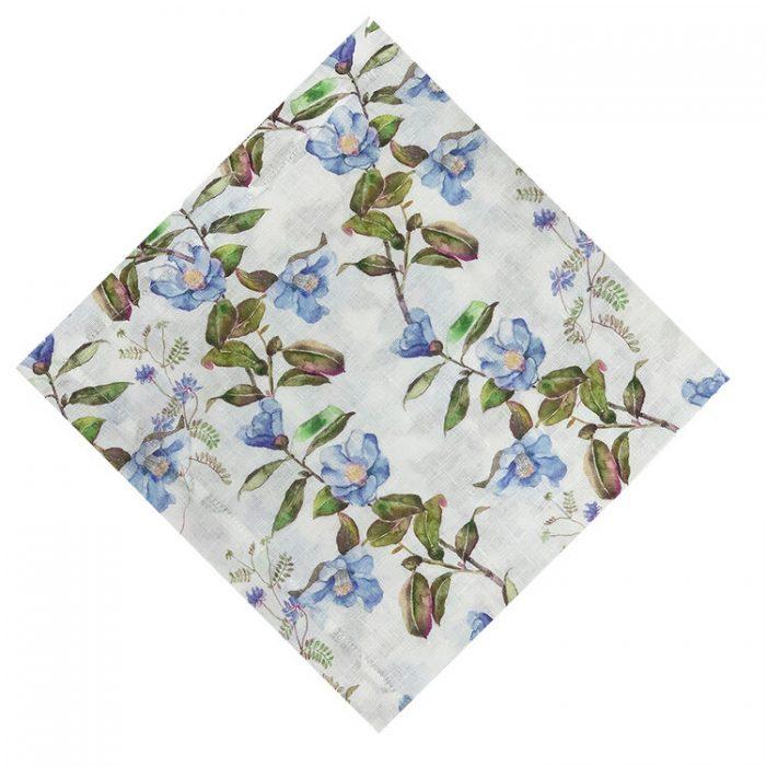Horned Flower Blue and Green Napkin - Set of