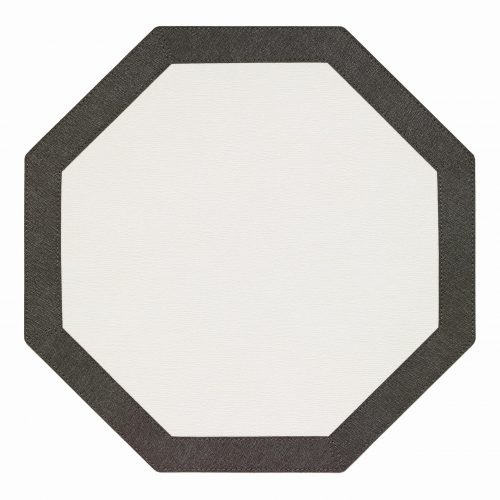 Bordino White Charcoal Octagon Placemat - Set of 2