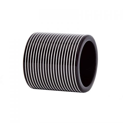 Lacquer Stripe Black and White Napkin Ring - Set of 4