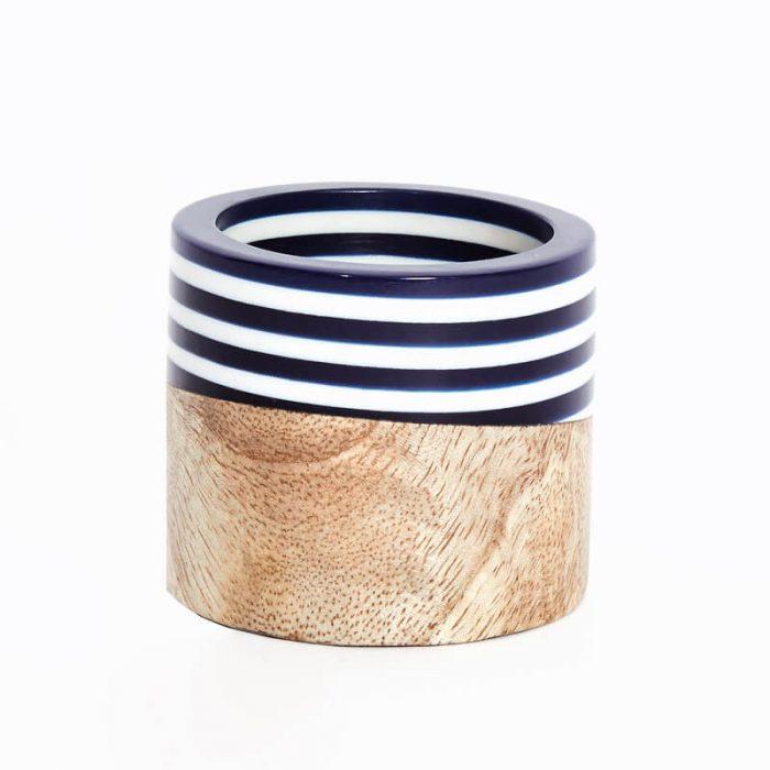 Wood & Stripes Blue Napkin Ring - Set of 4