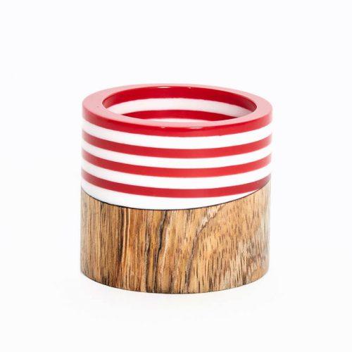 Wood & Stripes Napkin Ring - Set of 4