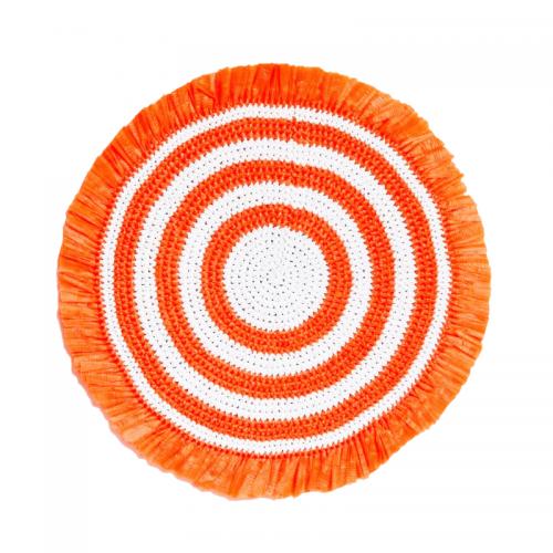 Woven Fringe Orange & White Beaded Placemat - Set of 2