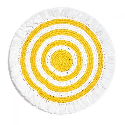 Woven Fringe White and Yellow Round Placemat - Set of 2