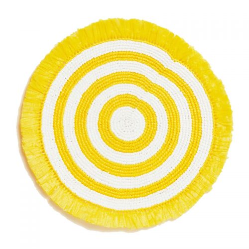Woven Fringe Yellow & White Beaded Placemat - Set of 2
