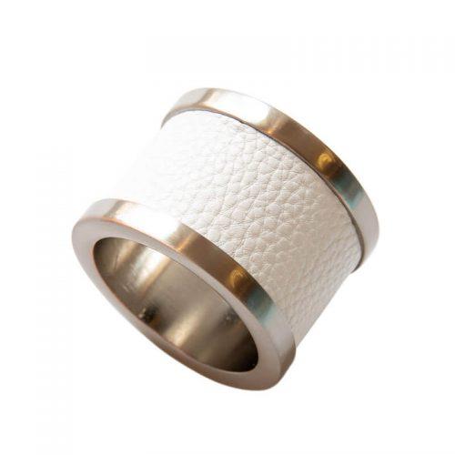 Zinc & Leather White Napkin Ring - Set of 4