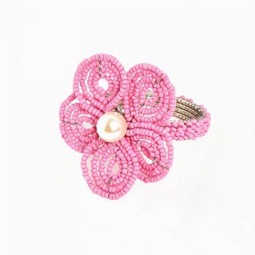 Floral Pink Napkin Ring - Set of 4