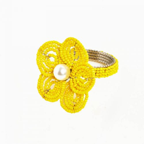 Floral Yellow Napkin Ring - Set of 4