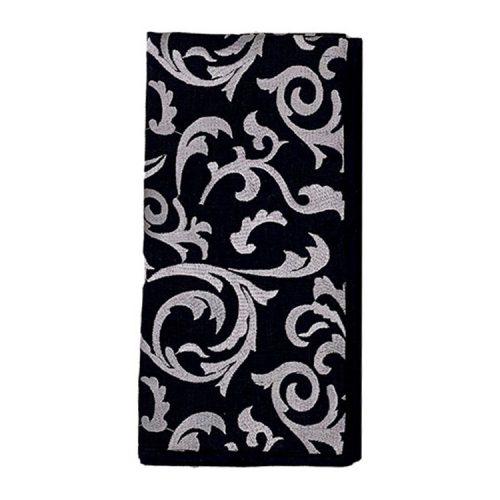 Brocade Black and Grey Napkin - Set of 2