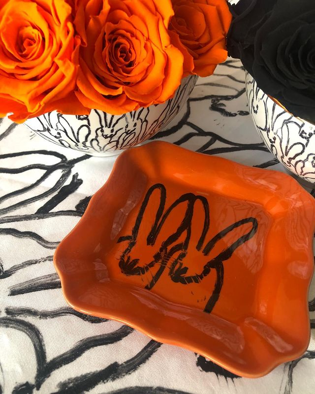 Hunt Slonem-Bunny Portrait Plate - Orange With Hand Painted Gold Rim