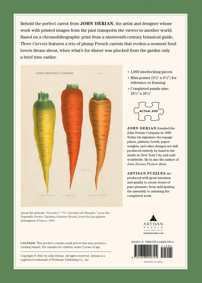 Three Carrots, John Derian 750 Piece Puzzle