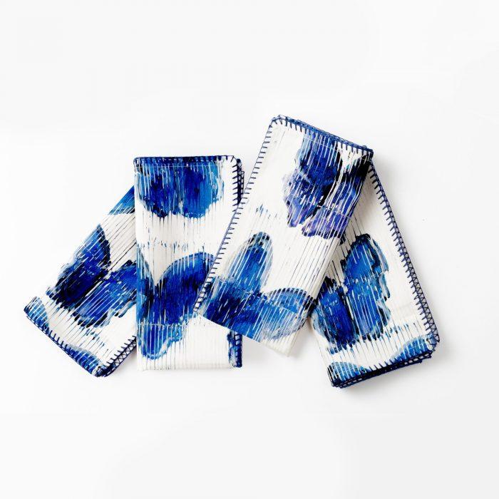 Hunt Slonem-Butterflies in Blue Cotton Napkin - Set of 4
