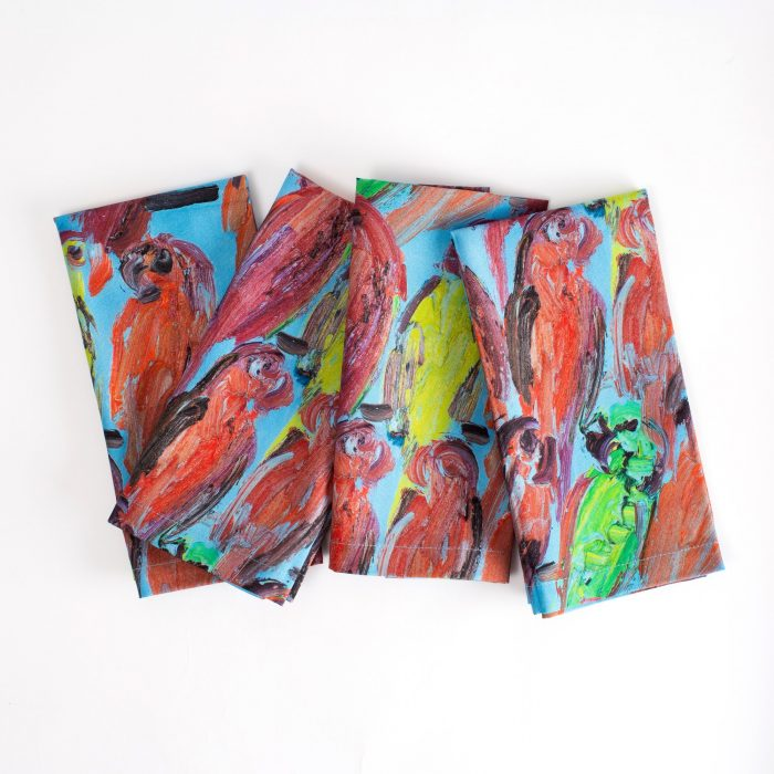 Hunt Slonem-LORIES Lories Cotton Napkin - Set of 4