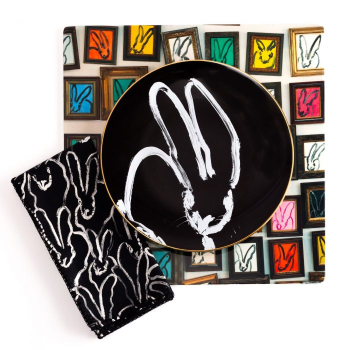 Hunt Slonem-Rabbit Run Black & White Cotton Napkin - Set of 4