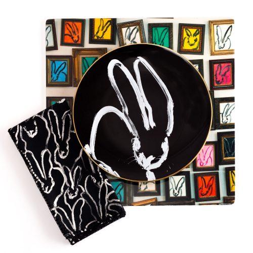 Hunt Slonem-Rabbit Run Black Dinner Plate