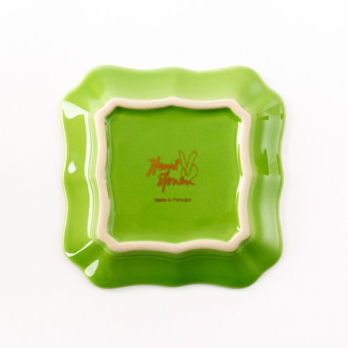 Hunt Slonem-Bunny Portrait Plate - Green With Hand Painted Gold Rim - Set of 2