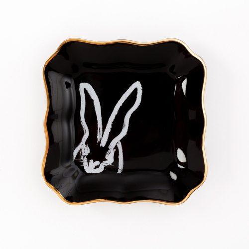 Hunt Slonem-Bunny Portrait Plate - Black With Hand Painted Gold Rim