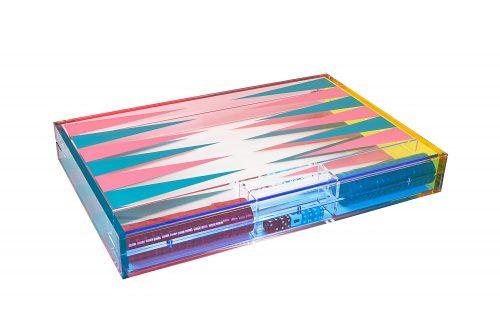 Lucite Multicolor Backgammon Set - Turquoise/Pink