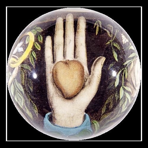 John Derian - Heart in Hand Dome Paperweight
