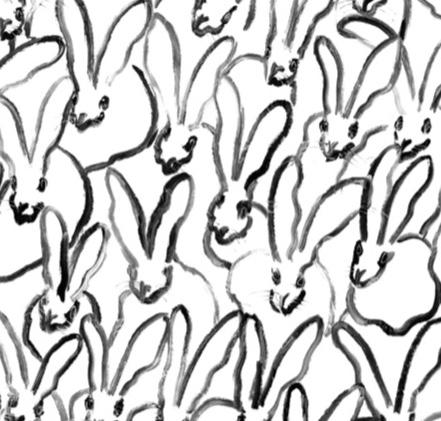 Hunt Slonem-Rabbit Run White & Black Cotton Napkin - Set of 2