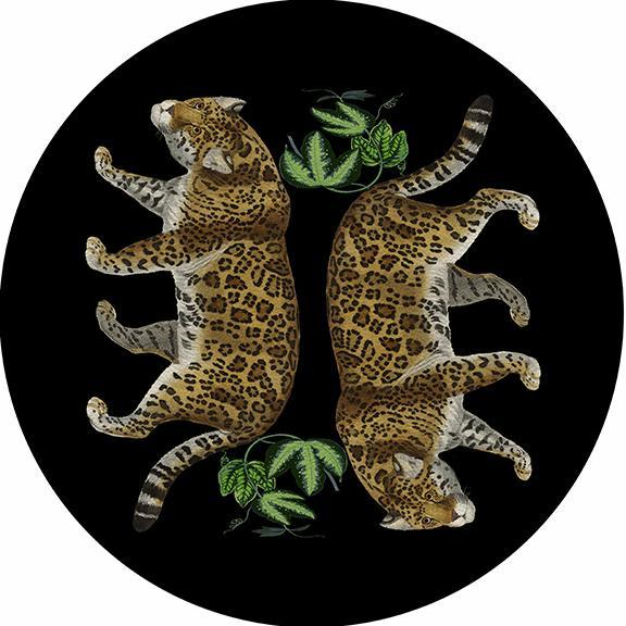 """Leopard Seeing Double Black 16"""" Round Placemat"""