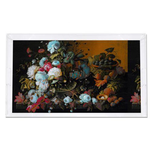 Bird Nest Floral Ochre Verdigris 22.5x14.5 Acrylic Tray