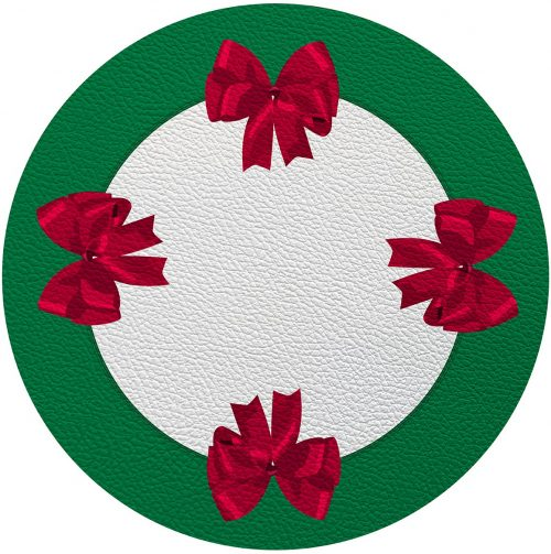"""Bows Green Red 16"""" Round Placemat - Set of 2"""