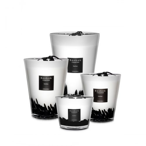 Baobab Candle Collection Feathers Black & White