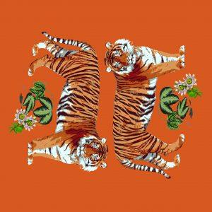 Tiger Seeing Double Orangerie 18x18 Acrylic Tray