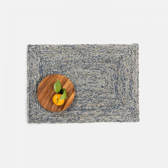 Zoey Slate Blue Rectangle Placemat - Set of 2
