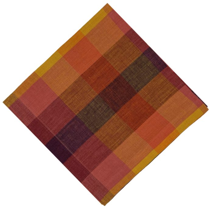 Block Check Orange Napkin - Set of 2