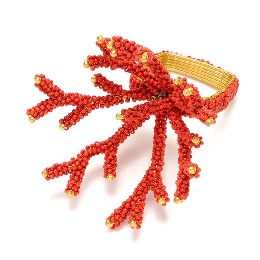 Kim Seybert Napkin Ring Coral Branch Coral