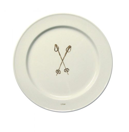 Chehoma Ascentielle Dinnerware Salad or Small Plate Ski Pole-8.39 x .98 h